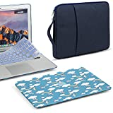 GMYLE 3 in 1 Bundle Glossy Crystal Light Blue Case Rainbow & Unicorn Hard Plastic Cover for MacBook Air 13 inch (A1369/A1466), Navy Blue Water Repellent Laptop Sleeve with Handle & Keyboard Skin
