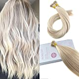 Bleaching Hair Experience - Moresoo 20 Inch I Tip Real Human Hair Extensions I Tipped Hair Extensions Ash Blonde Highlighted with Bleach Blonde Pre-bonded Tipped Hair Extensions 50g 1g/s