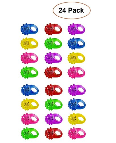 Light Up Rings for Kids- Assorted LED Spikey Glow Light Rings- Pack of 24 Bumpy Rubber Rings For Party Supplies, Party Games & Crafts, Bulk Party Favors - By (Bins Toy Bin Halloween)