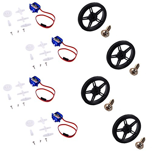 Feetech FS90R Analog Servo 360 Degree Continuous Rotation Micro RC Servo with Wheel for RC Car Plane Robot (Pack of 4 Pairs)