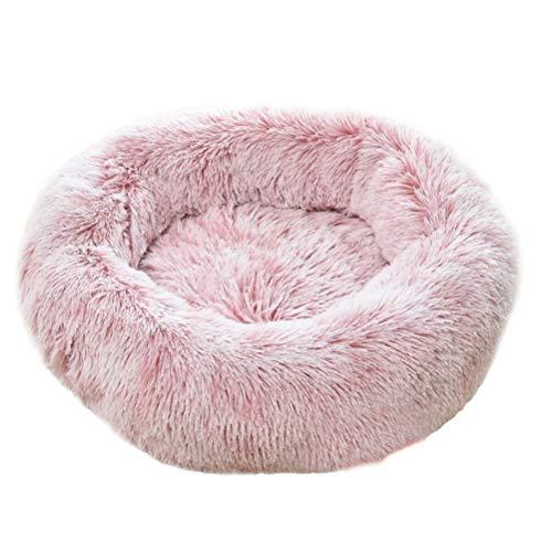 Creamon Rundes Haustierbett aus Plüsch, Rundes Haustierbett aus Plüsch Weiche und Bequeme Hundehütte Katzenstreu…
