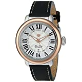 Glam Rock Women's GR77047 Bal Harbour Two-Tone Stainless Steel Watch with Black Leather Band