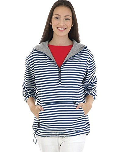 - Charles River Apparel Women's Chatham Anorak, Navy/White Stripe, L