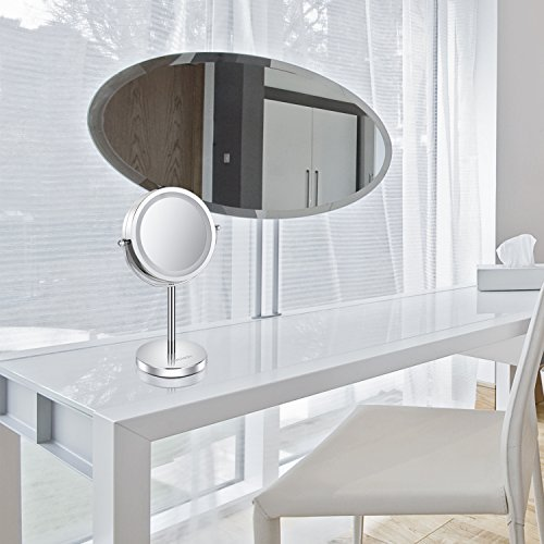 Lighted Makeup Mirror - 6'' LED Vanity Mirror 7x Magnification Double Sided Mirror Cosmetic Table Mirror Polished Chrome ALHAKIN by AlHAKIN (Image #6)