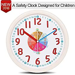 Kid Wall Clock Baby Nursery Large Wall Clock In Kid's Room Clock Bedroom 12 Silent Non Ticking Analog Quartz Home Colorful Read Learn Time for Unisex Kid Room/Nursery Playroom/School(Beige)