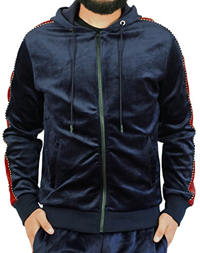 (Royal Seven Men's Full-Zip Velour Hoodie With Contrast Stripe From Navy/Red)