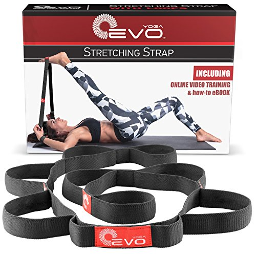 Yoga EVO Stretch Strap with Loops Exercise Stretching Out Strap Leg Stretcher Flexibility Band for Back and Feet