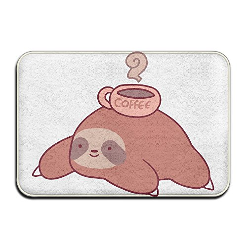 KOESBY-MT Luxury Hotel Entrance Mat Sloth And Coffee Washable Bath Mats by KOESBY-MT