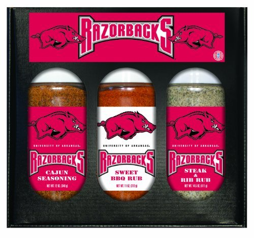Arkansas Razorbacks NCAA Boxed Set of 3 (Cajun Seas,Stk/Rib Rub, BBQ Rub) by Hot Sauce ()