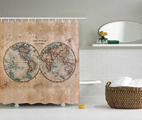 Tan Map (Ambesonne Earth Tones Decor Collection, Old World Map from 1800s for Geography and History Print, Polyester Fabric Bathroom Shower Curtain Set with Hooks, BurlyWood Tan Blue)