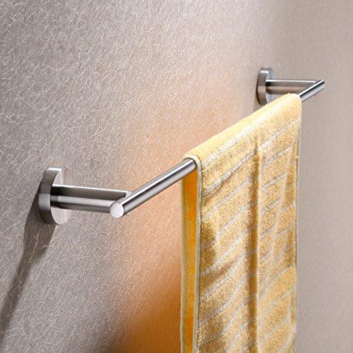 Hpbge Towel Bar, 24-Inch Stainless Steel Bathroom Accessories Towel Rack Holder Storage Organizer Hanger Wall Mount, Brushed Nickel (Silver 24 Inch Towel Bar)