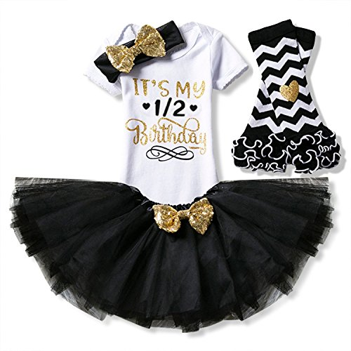 HotDresses Newborn It's My Half 1st /2nd Birthday 4 Pcs Outfits Romper+Skirt+Headband(+Leggings) (Black, 0-6 Months)