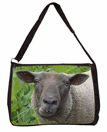 Cute Sheeps Face Large 16 Black School Laptop Shoulder Bag