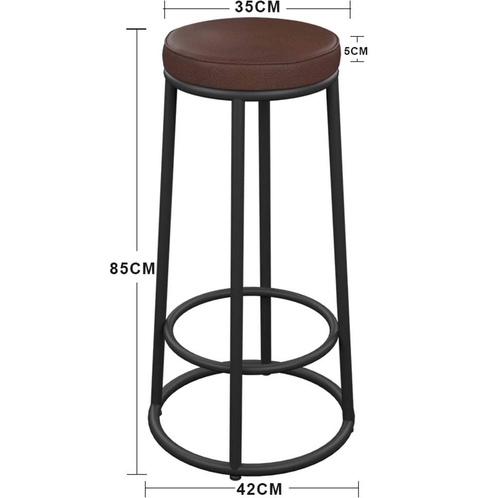 85cm Hzpxsb Wrought Iron Wood Bar Stool Simple igh Stool American Retro Breakfast ChairighBeauty HairdressingFrontDesk Chair (Size   65CM)
