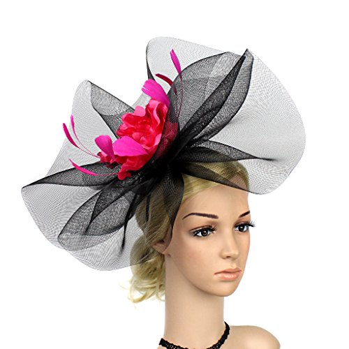 YSJOY Vintage Veil Mesh Feather Big Curl Up Kentucky Hat Simulation Flower Bridal Shower Hat Wedding Cocktail Tea Party Hat Church Derby Hat Black