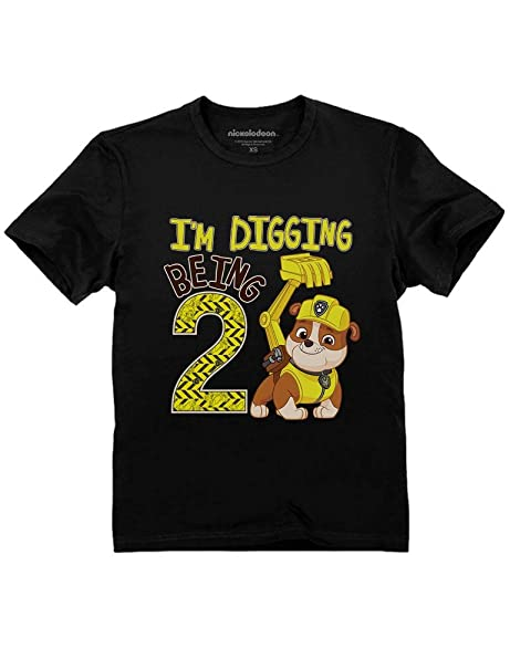Paw Patrol Rubble Digging 2nd Birthday Official Nickelodeon Toddler Kids T Shirt 2T Black