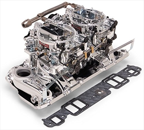 (EDELBROCK 20254 Performer Rpm Dual-Quad Air-Gap Manifold And Carburetor)