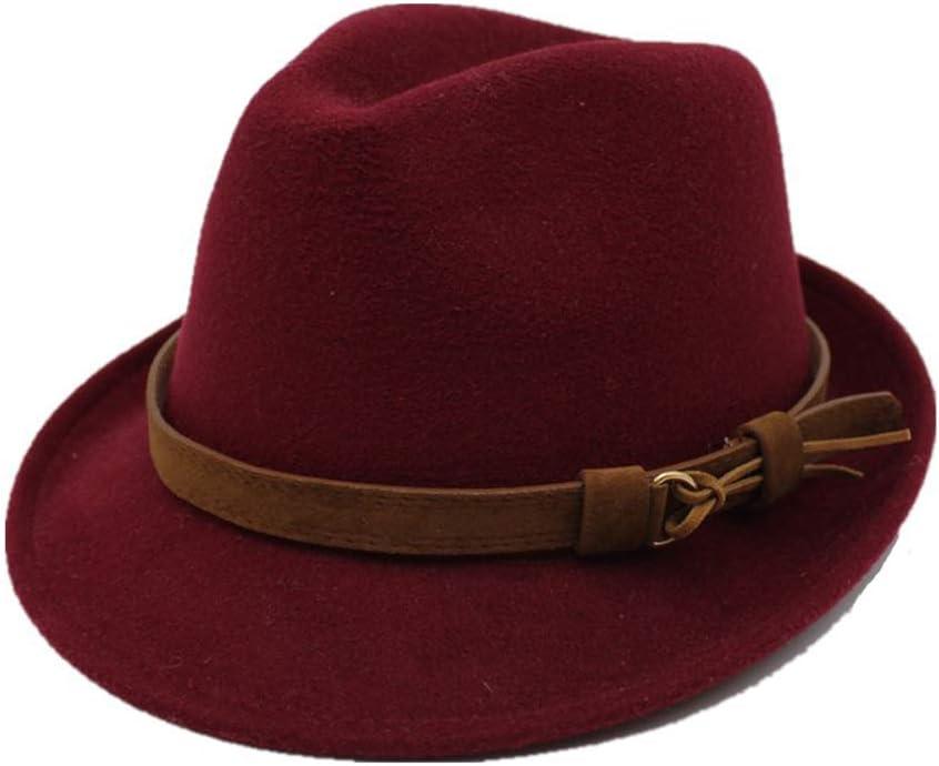 Zhulongjin Men Women Woolen Felt Fedora Hat With Belt British Style Godfather Church Jazz Cap Autumn Winter Trilby Panama Hats Classic Elegant Color : Coffee, Size : 56-58CM