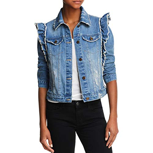Bagatelle Women's Denim Jacket with Ruffle Shoulder, Large ()