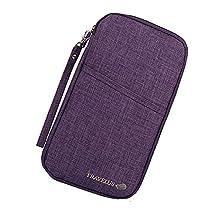 Mushion Multi-purpose Passport Credit Id Card Cash Travel Document Holder Organizer Wallet (Purple)