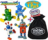 Toysmith Robot Buddies ''Bendable Wooden Fidgets'' Complete Gift Set Party Bundle with Exclusive ''Matty's Toy Stop'' Storage Bag - 4 Pack