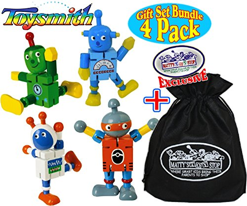 Toysmith Robot Buddies ''Bendable Wooden Fidgets'' Complete Gift Set Party Bundle with Exclusive ''Matty's Toy Stop'' Storage Bag - 4 Pack by Toysmith