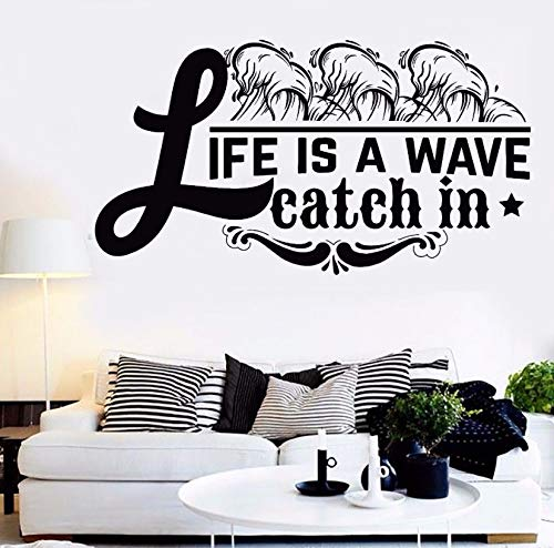 Dalxsh Wall Sticker Quote Words Life is A Wave Catch in Room Decor Removable Quote Vinyl Wall Decal Home Room Life Sticker Decor 57X31Cm ()