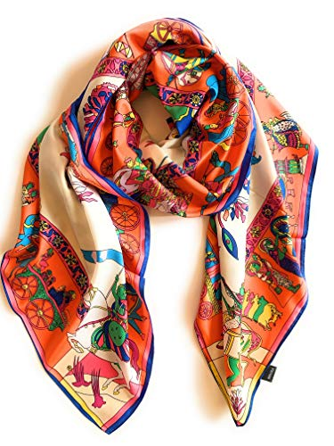 SILK SQUARE SCARF IN STYLE OF HERMES WRAP WOMENS FASHION SCARF