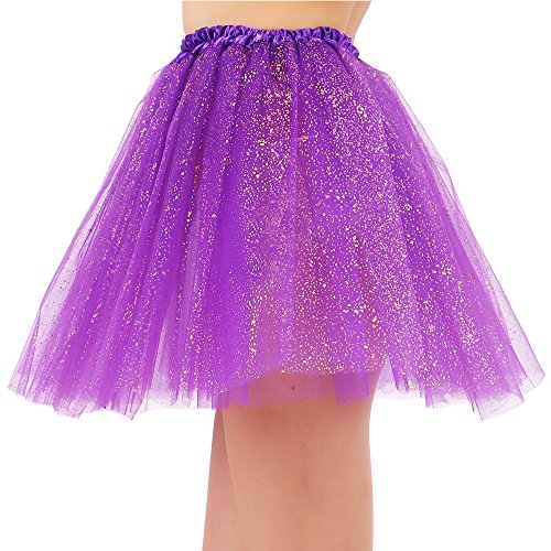 yered Tulle Sparkling Sequin Tutu Skirt, Dark Purple (Dark Purple Tutu)
