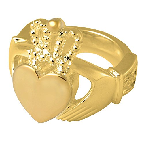 Memorial Gallery 2015GP-11 Claddagh Ring 14K Gold/Sterling Silver Plating Cremation Pet Jewelry, Size 11