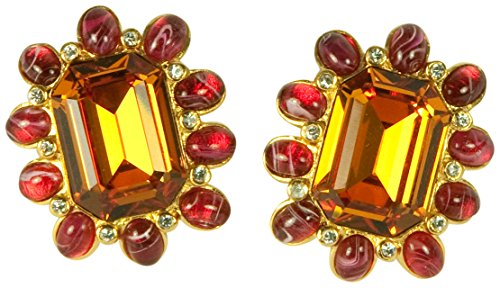 KENNETH JAY LANE, CRYSTAL CENTER & CABOCHON CLIP EARRINGS, CHOOSE: ROSE PINK, PERIDOT, TOPAZ ()