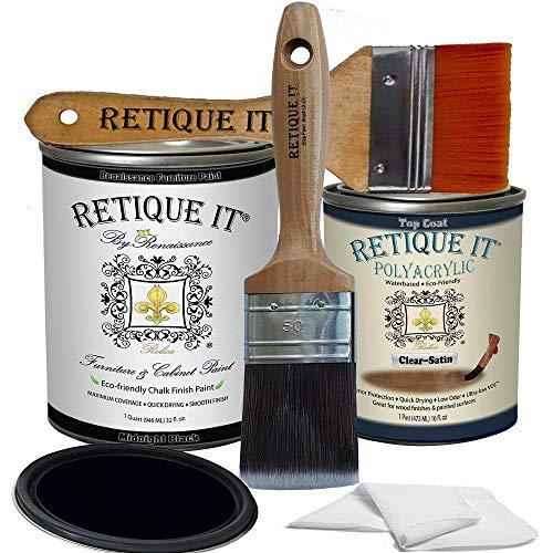 Retique It Chalk Furniture Paint by Renaissance DIY, Poly Kit, 08 Midnight Black, 32 Ounces