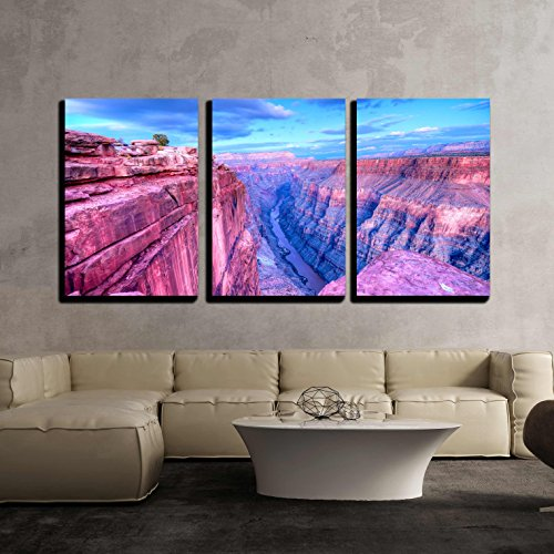 "wall26 - 3 Piece Canvas Wall Art - Sunset at Toroweap Point, in Grand Canyon National Park. - Modern Home Decor Stretched and Framed Ready to Hang - 24""x36""x3 Panels"