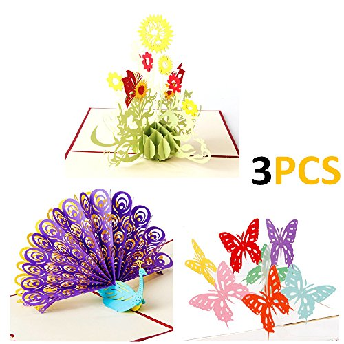 AlleTechPlus 3 Pack Birthday Cards 3D Pop Up Valentine's Day Flower Peacock Butterfly Greeting Card with 3 Envelopes (Sunflower) Butterfly Peacock