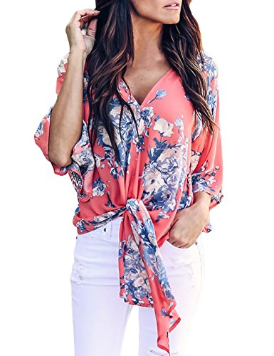 Office Tie - CICIDES Women Summer Sexy V Neck Casual Floral Printed Short Sleeve Tie Front Flare Tops Chiffon Blouses Black US12-14 Large