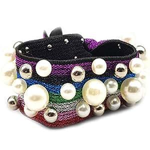 Wide garterized Chic pearl Wristband Bracelet Hand wrist Pearl Wristband