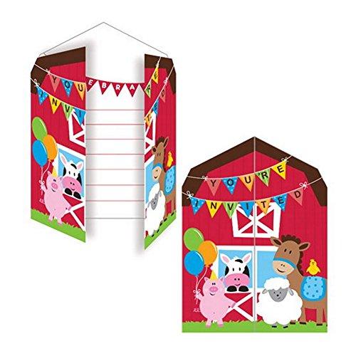 Birthday Invitations Barn (Farmhouse Birthday Party Invitations With Red Envelopes - 8 Pack)