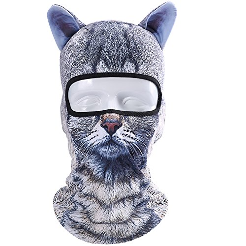 Koolip Cat Balaclava,Dog Balaclava,Halloween Hat,Cute Full Face Hood Mask Animal Ski Mask for Hiking Riding Sports Outddor ()