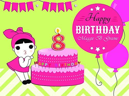 Custom Creative Design Girl Cake And Balloons Birthday Poster For Girls