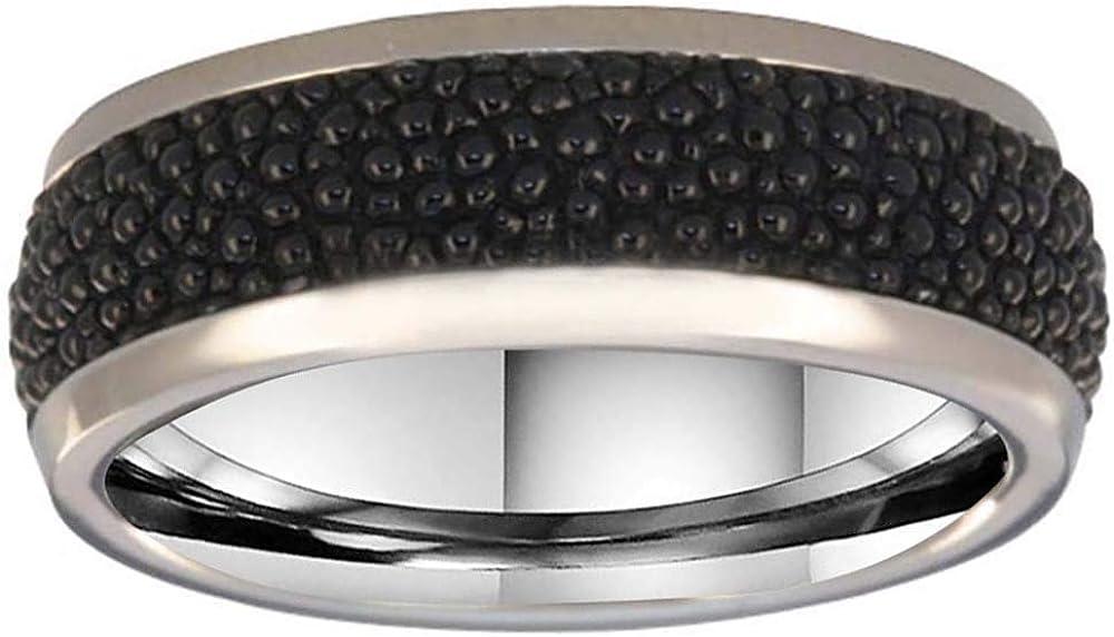 FlameReflection 6mm Men's Titanium Ring Wedding Band High Polish Round Edge Stingray Leather Size 9-13 SPJ