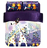 HIGOGOGO Home Textiles Cotton Two Zebra Coral Fleece Duvet Cover Set 5Pcs, Rainbow, Colorful Zebra, Two Girls Play ,Purple Color Sheet Set Twin Full Queen Size (Queen)