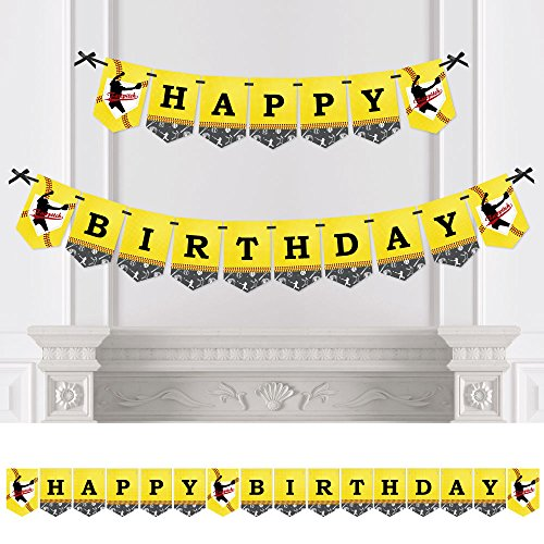 Big Dot of Happiness Grand Slam - Fastpitch Softball - Birthday Party Bunting Banner - Birthday Party Decorations - Happy Birthday