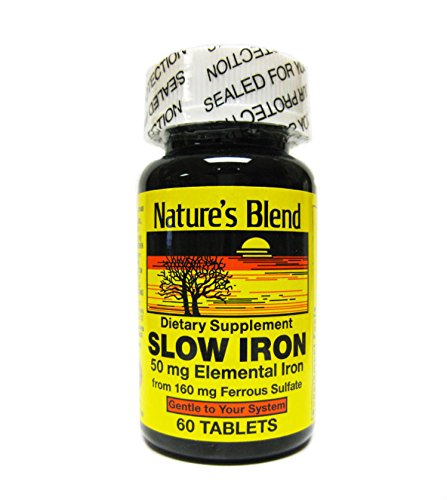 Blend Iron - Nature's Blend Slow Iron 50mg, 60 Tablets Per Bottle (Pack of 2)