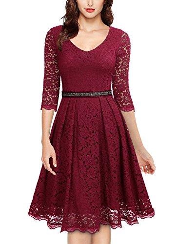 Miusol Women's Vintage Floral Lace 2/3 Sleeve Bridesmaid Party Dress (XX-Large, G-Red)