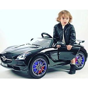 2020 Carbon Black SLS AMG Mercedes Benz Car for Kids, 12V Powered Kids Ride On Car, Leather Seat, LED Lights, Parental…
