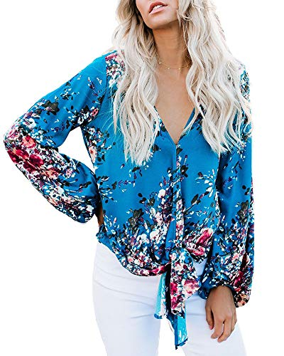 Womens V Neck Floral Blouses Long Sleeve Summer Casual Front Tie Tops Loose Fit Shirts