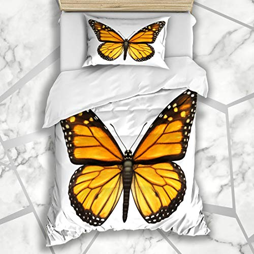 Ahawoso Duvet Cover Sets Twin 68X86 Migrant Orange Insect Monarch Butterfly Open Wings Top View Wildlife Nature Yellow Flying Majestic Microfiber Bedding with 1 Pillow Shams