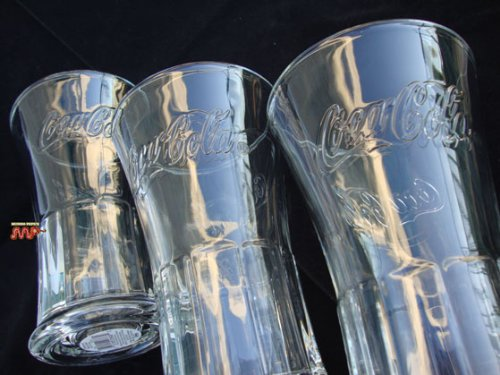 Beautiful Coca Cola Glassware 3pc set, Retro Soda Fountain Style Look Excellent 16oz Capacity. Ideal for 1 can serving. Made in The USA - 3 Piece Retro Soda