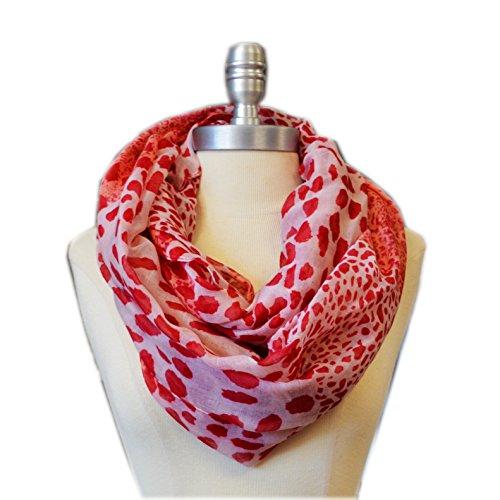 SCARF_TRADINGINC® Animal printed Infinity Loop Scarf Cowl (Leopard Pink Red)
