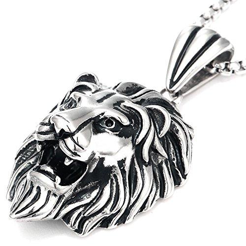 DonDon Herren Halskette Leder oder Edelstahl und Löwen Anhänger Edelstahl im Schmuckbeutel